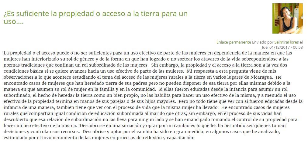 Participación Selmira en Foro Género y Tierra (Land Portal-Anaconas)